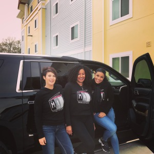 Jodi Jackson, Nichet Smith, and Jordin Sparks. Delivering Teddy Bears during Jordin Sparks Experience 2017.